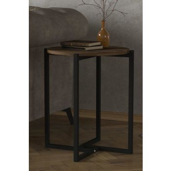 Exclusive Noce Iron Side Table Walnut 8681506225399