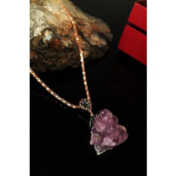 Women Rose Gold Plated Amethyst Stone Necklace Krb257