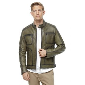 Men's Green Leather Jacket 3174