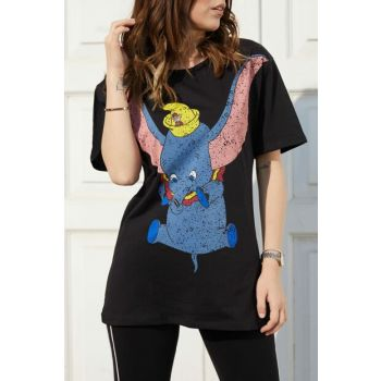 Women Black Elephant Printed Boyfriend T-Shirt 9KXK2-40627-02