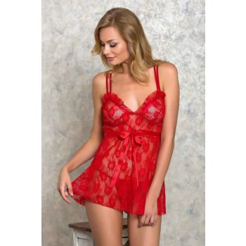 Women's Red 2PCS Nightwear Panties Suit LB9000 MLB9000