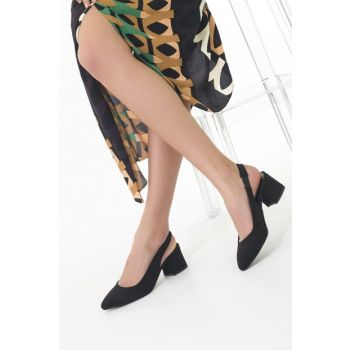 Black Suede Women's Heeled Shoes 12517