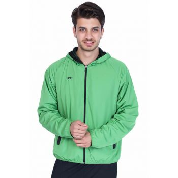 Sportive Men's Zippered Hooded Green Tracksuit Top Raincoat
