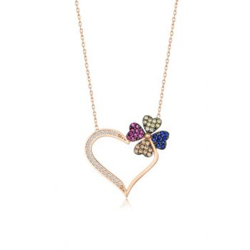 Women Rose 925 Sterling Silver Heart Clover Necklace MA_KL_1089
