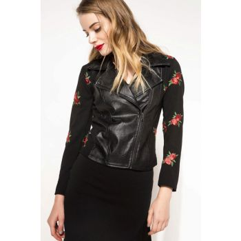 Women's Floral Embroideried Leather Jacket I4436AZ.17WN.BK46