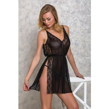 Women's Black 2pcs Nightgown Panties Suit LB9017 MLB9017