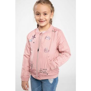 Pink Girl Kid Patch Detailed Bomber Coats I9791A6.19SP.PN313