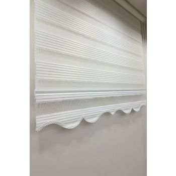 190 x 200 Pleated Roller Zebra Curtain White MZ480 8605480590826