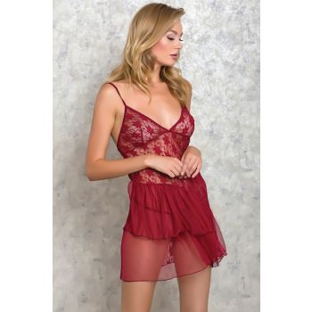Women's Burgundy 2pcs Nightwear Panties Suit LB9007 MLB9007