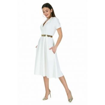 Women's White Belt Short Sleeve Midi Dress 9YEL569K112