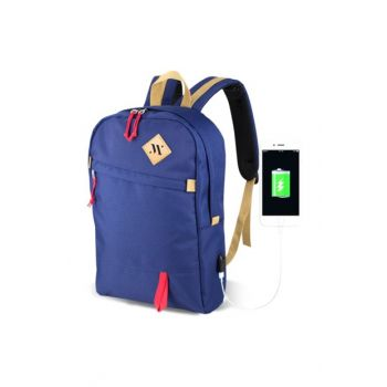 Navy Blue Unisex Freedom Usb Charge Entry Backpack MV5021