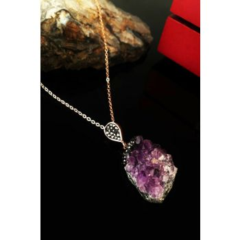 Women's Rose Gold Plated Amethyst Move Necklace Krb255