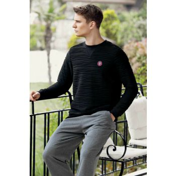 Men's Black Jacquard Pajamas Set Mep24502-1 MEP24502-1
