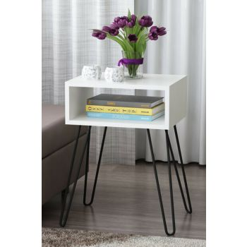 Tuana Metal Pedestal Side Table White 8681506224705