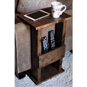 Solid Wood Walnut Color 45x30cm Side Table CPT2002-45