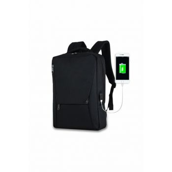 Unisex Active Usb Charger Entry Slim Notebook Backpack Black Mv0096
