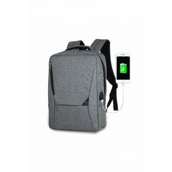 Unisex Active Usb Charger Entry Slim Notebook Backpack Gray Mv0096