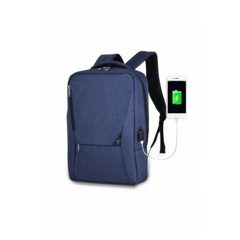 Unisex Active Usb Rechargeable Slim Notebook Backpack Navy Blue Mv0096