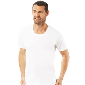 Men's White Combed O Neck Half Sleeve Undershirt Singlet 0059 0059
