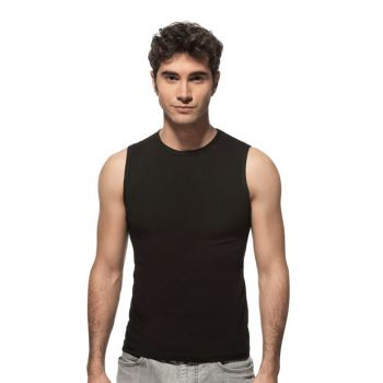 Men's Black Off Collar Sleeveless Undershirt Singlet 0264 0264