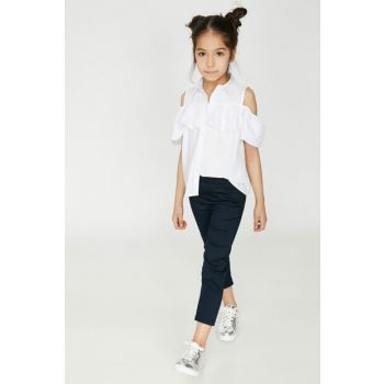 Navy Blue Girl's Pocket Trousers 9YKG47524OW