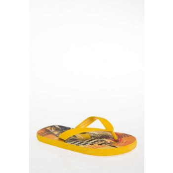 Orange Boy Kid Printed Finger Slipper I3716A4.18Sm.Og356 I3716A4.18SM.OG356