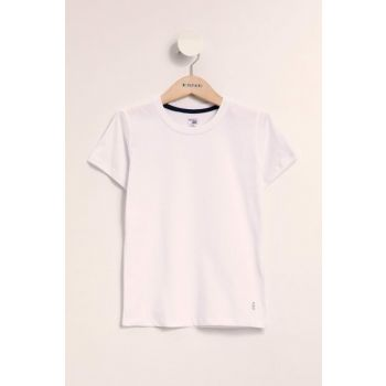 White Boys' Basic Short Sleeve T-Shirt K1687A6.19SP.WT34