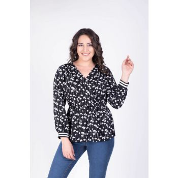 Women's Loose Double Breasted Floral Blouse 34155