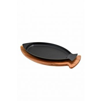 Lava 16 × 32 cm Cast Iron Handled Wooden Stand Fish Pan 2018ST000006980