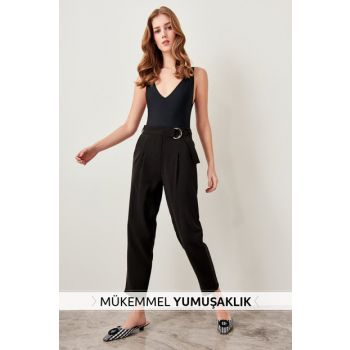 Black Belted Lyocell Pants TWOSS19ST0053