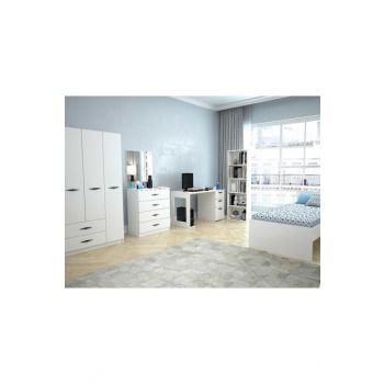 Texas Teen Room with 3 Drawers (Bright White) with 2 Drawers 123TEKSAS003