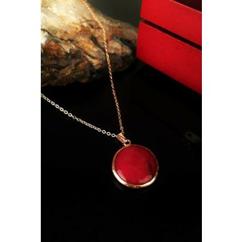 Women Natural Stone Agate Stone Rose Gold Plated Necklace Krb235