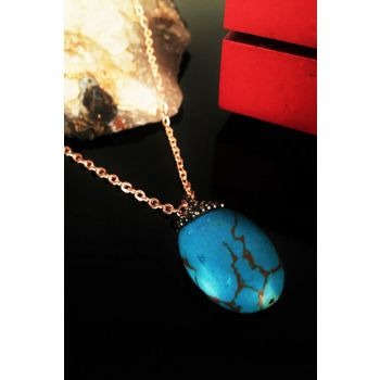 Women's Natural Stone Turquoise Stone Rose Gold Plated Necklace Krb108