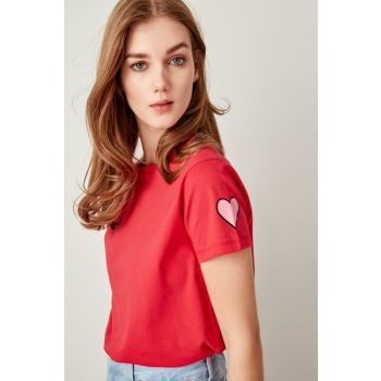 Red Printed Basic Knitted T-shirt TWOSS19VG0094