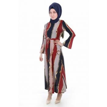 Women's Patterned Burgundy Patterned Dress 1525BGD19_230