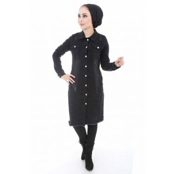 Women's Black Skirt Tasseled Denim Jacket 0597BGD19_001