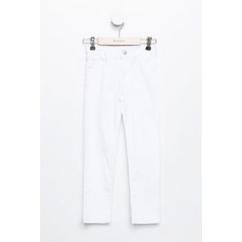 White Girls Kids Slim Fit Gabardine Pants K0843A6.19SP.WT34