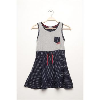 Girls' Sleeveless Dress Navy Blue 14Ykgelb540_19-3921 14YKGELB540