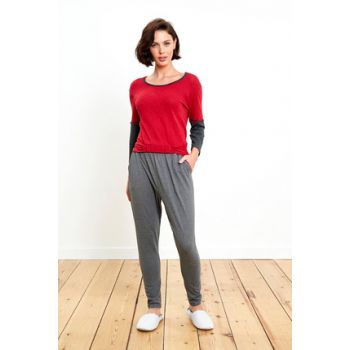 Women Orginalal Double Color Combined Red Pajamas Set 7201PIJA18K_045