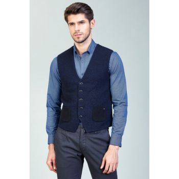 Men's Navy Blue Vest - A82Y6516-11
