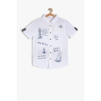 Ecru Boy Printed Shirt 9YKB66076OW