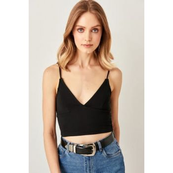 Black Halter Knitted Blouse TWOSS19BX0099