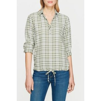 Women's Lace-up Green Blouse 8812011-29748