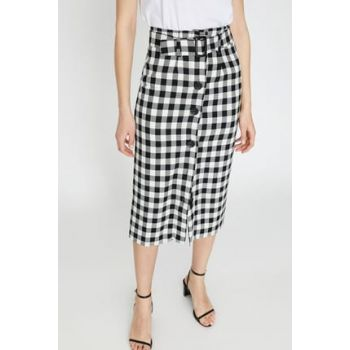 Women's Black Plaid Skirt 9YAK72029UW