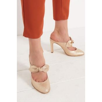 Open Gold Color Women Heeled Shoes 18YSD15225-A-04