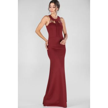 Women's Collar Bias Detail Burgundy Evening Dress ELB000305507