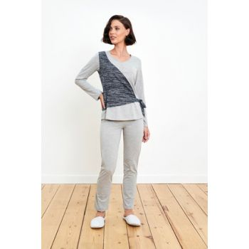 False Breasted Detailed Gray Pajamas Set 7217PIJA18K_045