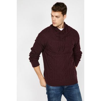 Men's Burgundy High Collar Sweater 9KAM91308LT