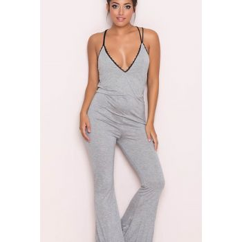 Women's Gray Lace Embroidered Suspender Pajamas Suit 1307581