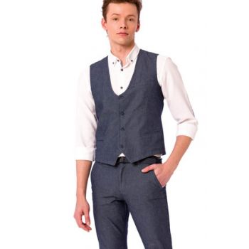 Young Men Navy Blue Vest 8S3647Z6